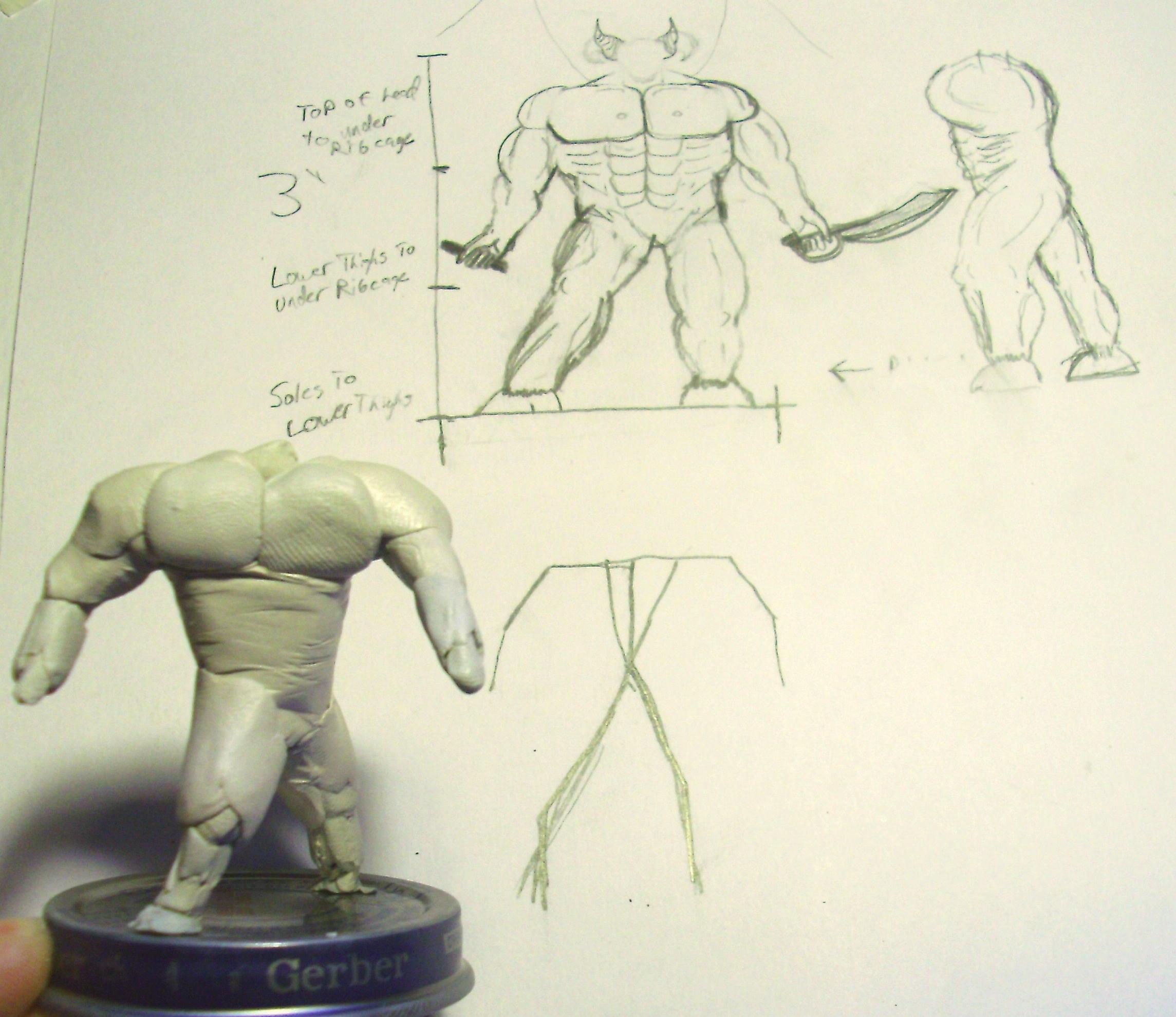 Armature compared to concept sketch