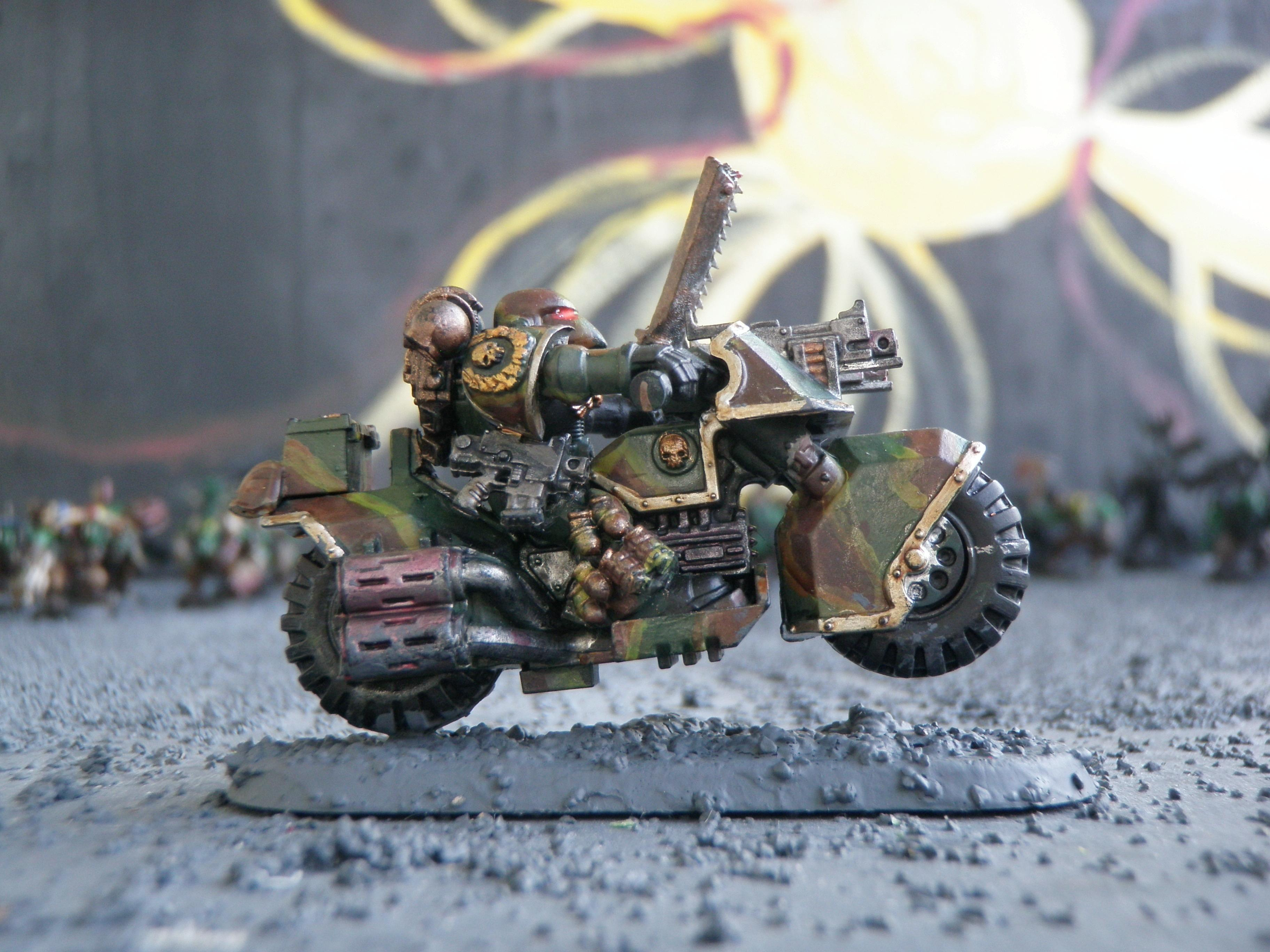 Bike, Bolt Pistol, Camouflage, Chainsword, Command Squad, Grenades, Space Marines, Veteran