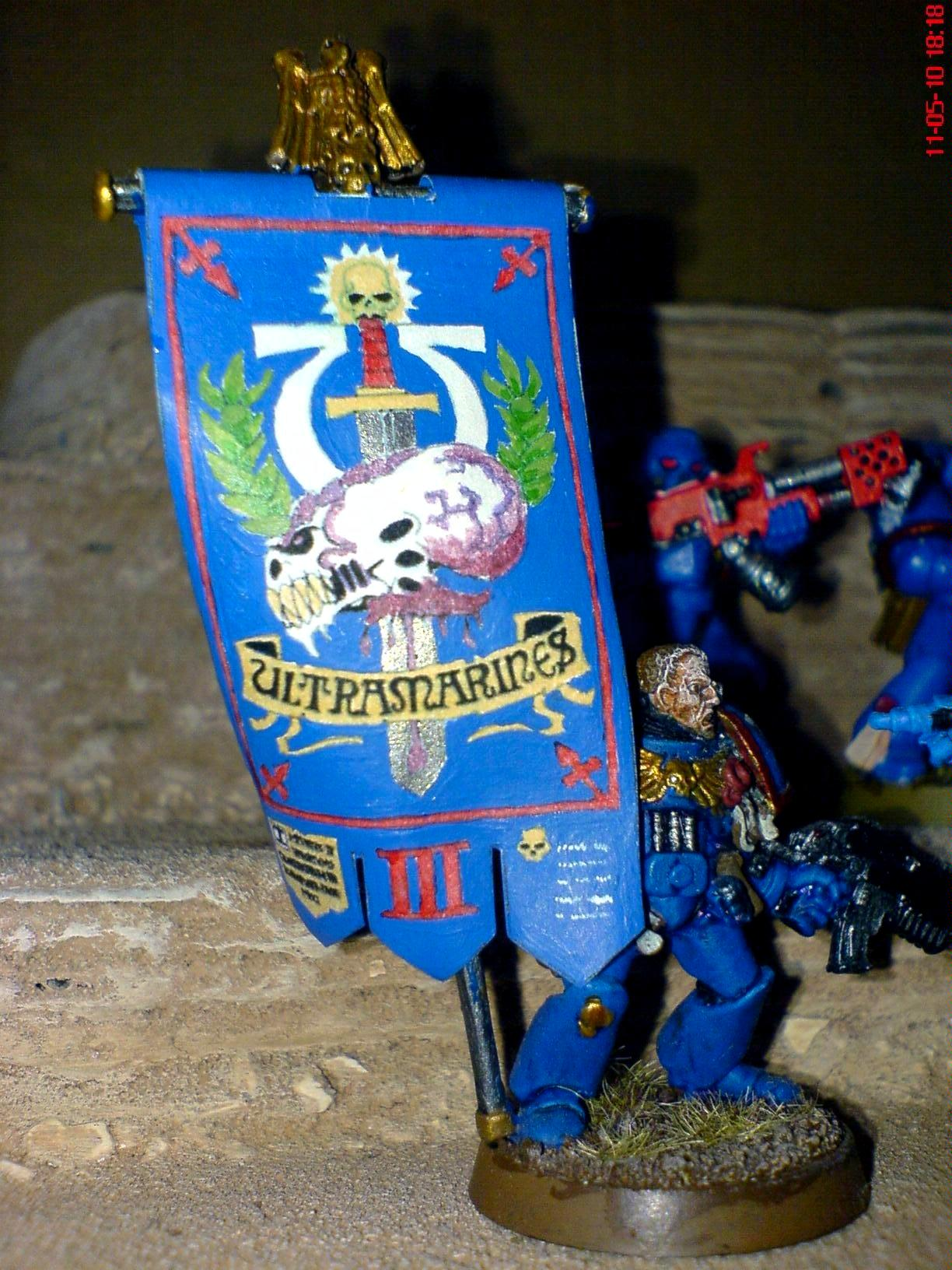 Banner, Command Squad, Company Banner, Power Armour, Space Marines, Ultramarines