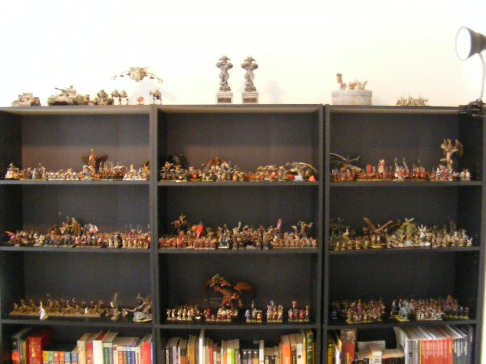My shelves.  I have since added another on the end.  Still not enough room