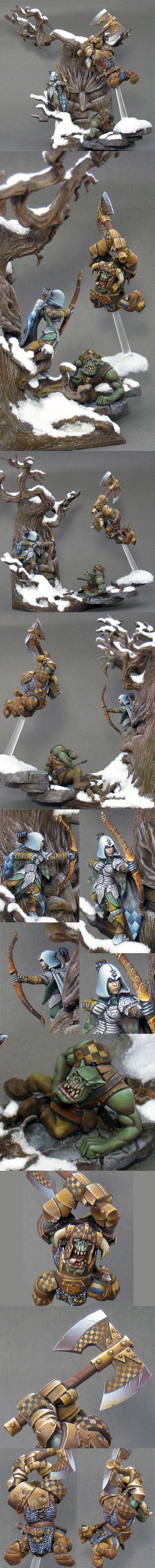 Arrows, Axe, Combat, Diorama, Elves, Fight, Hacking, Non-Metallic Metal, Orcs, Snow, Warhammer Fantasy, Woods
