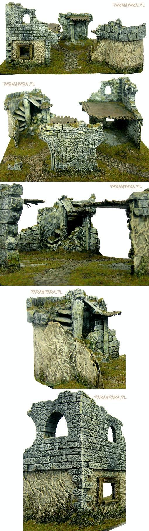 Buildings, Damaged, House, Mordheim, Ruined, Ruins, Stairs, Terrain, Walls, Warhammer Fantasy