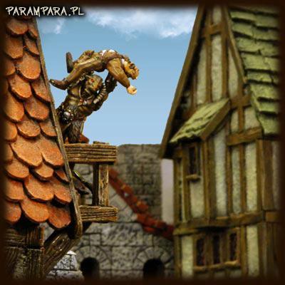 Balcony, Beast, Beastmen, Buildings, City, Conversion, Mordheim, Roof, Ruin, Ruined, Ruins, Scene, Street, Streets, Terrain, Throw, Throwing, Town