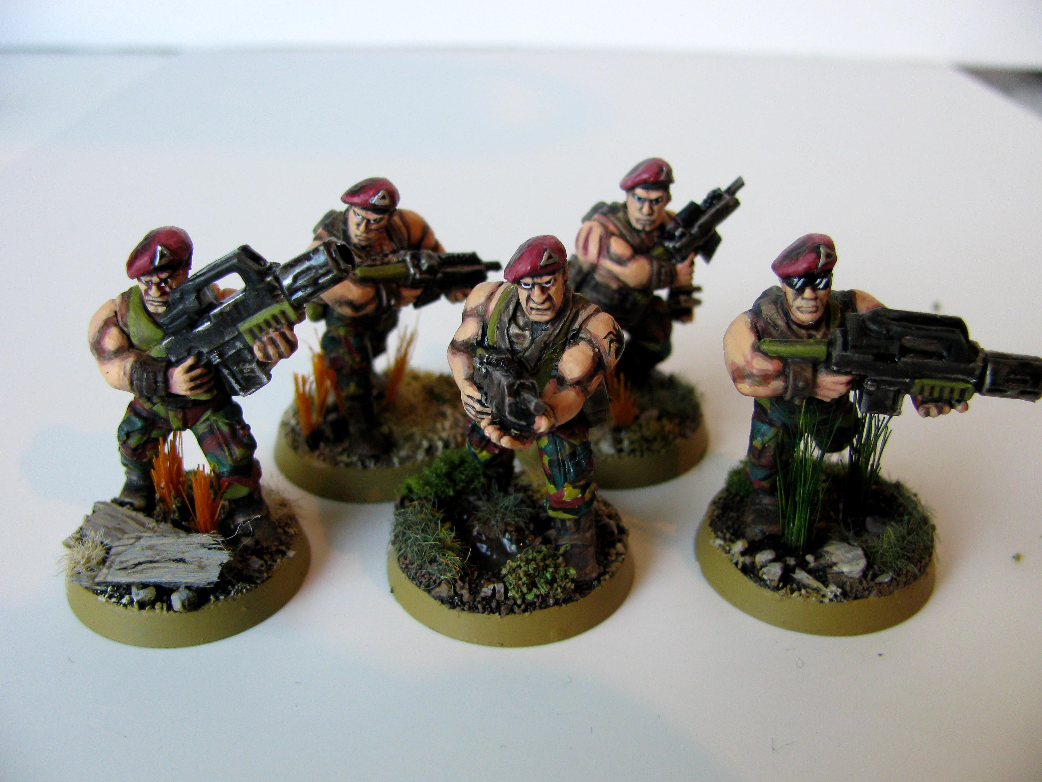 3rd, Belgium, Camouflage, Catachan Jungle Fighters, Catachans, Conversion, Darkon, Imperial Guard, Meltagun, Squad, Veteran, Warhammer 40,000, Work In Progress