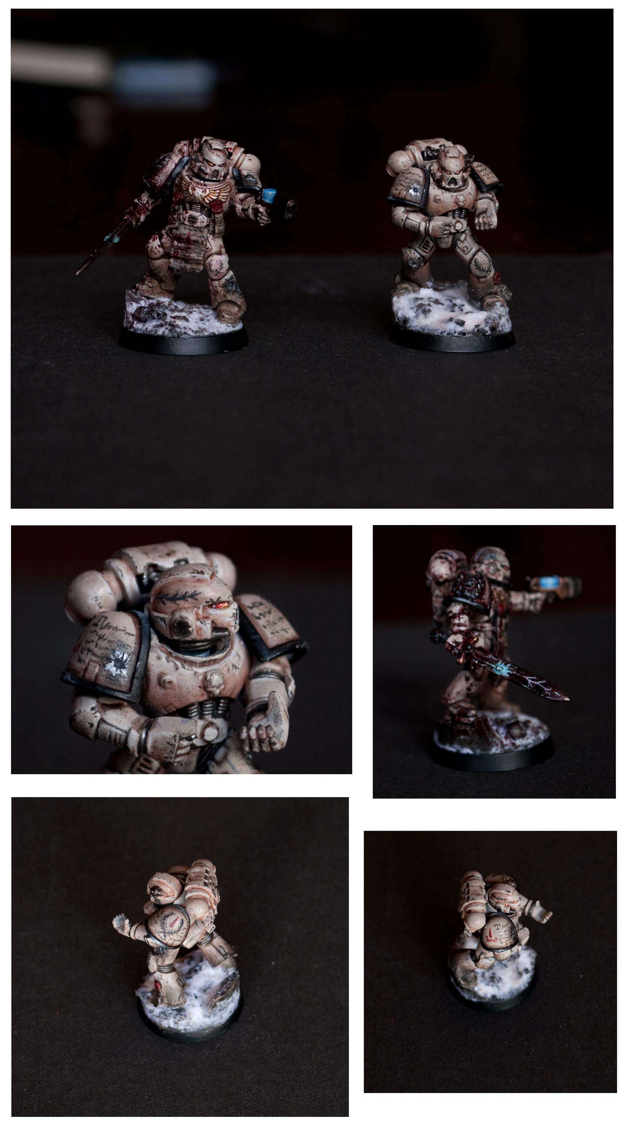 Battle Damage, Blood Angels, Fading, Freehand, Shading, Snow, Space Marines, Warhammer 40,000