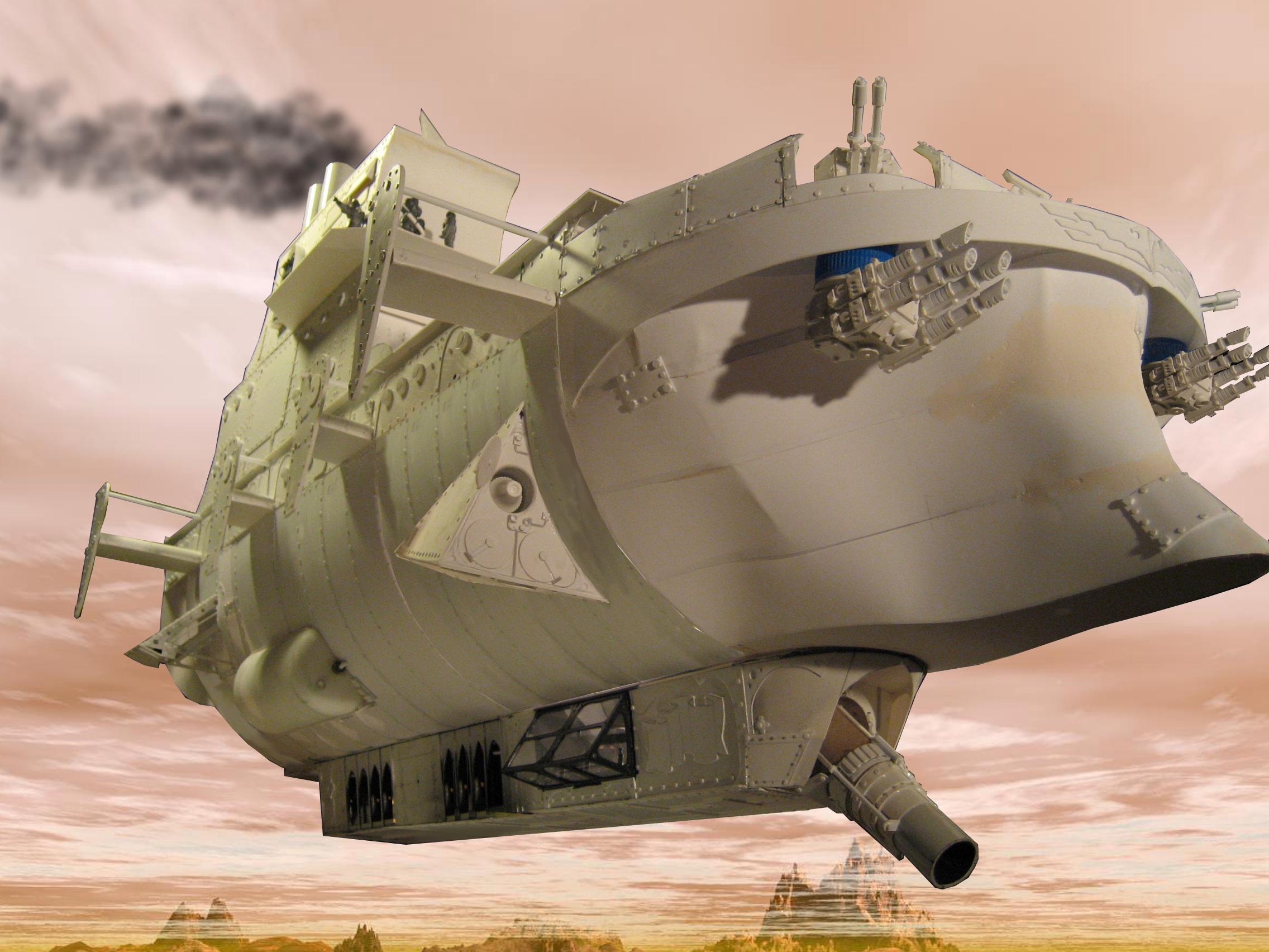 Aircraft Carrier, Airship, Blimp, Drogue, Steampunk
