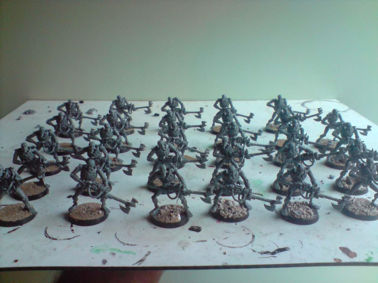 Necrons, Another batch of Warriors based and ready for priming