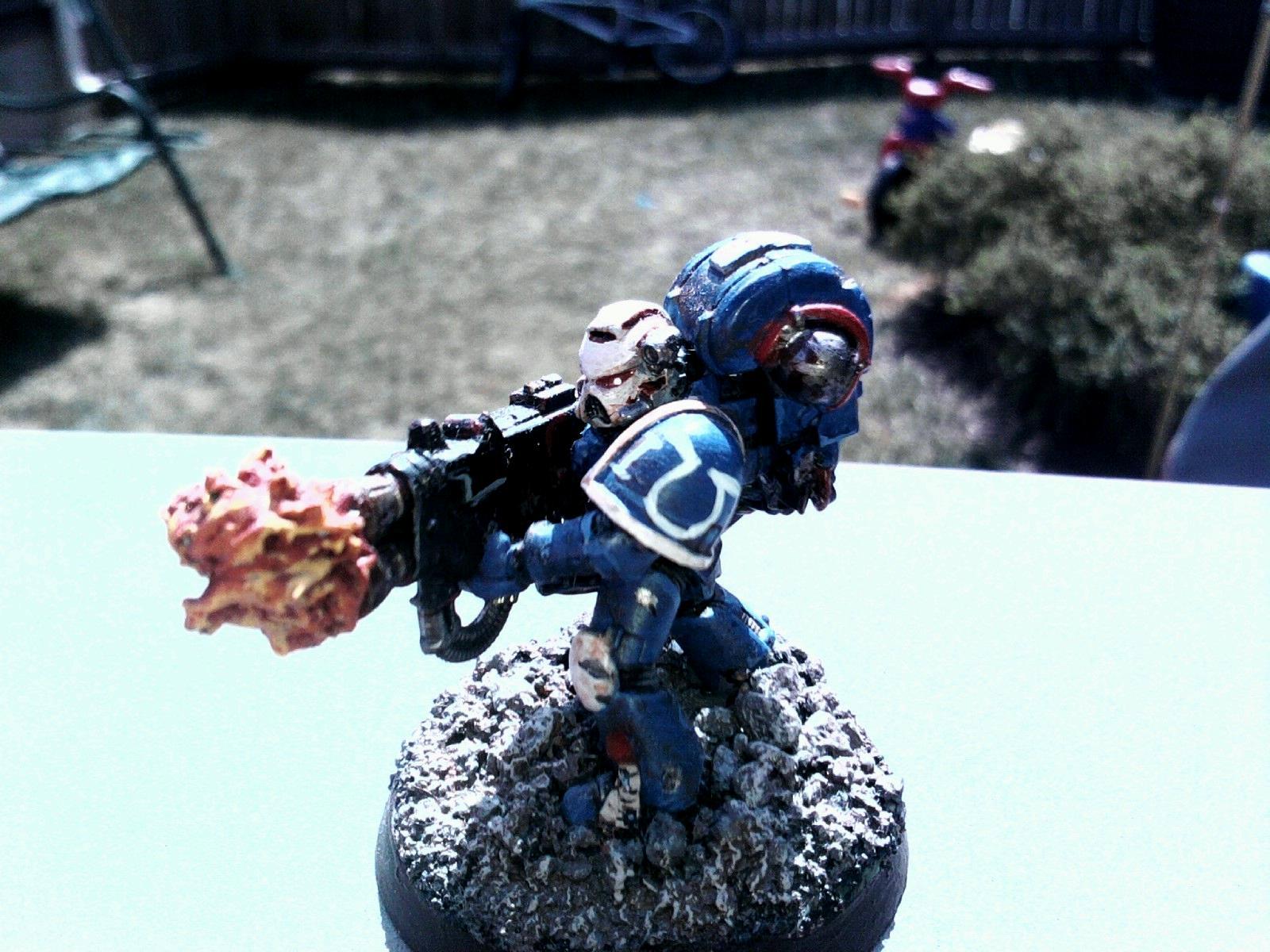 Heavy Flamer, Space Marines, Sternguard, Ultramarines, Veteran