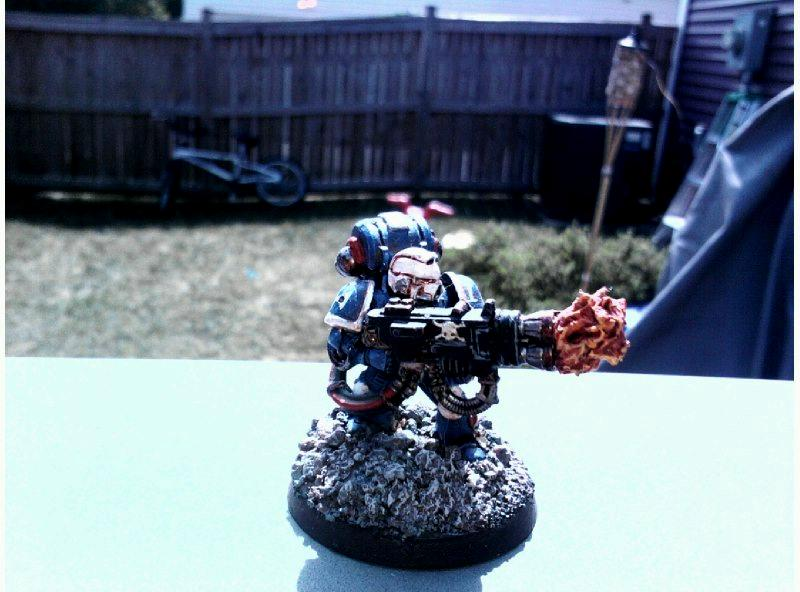 Heavy Flamer, Space Marines, Sternguard, Ultramarines, Veteran
