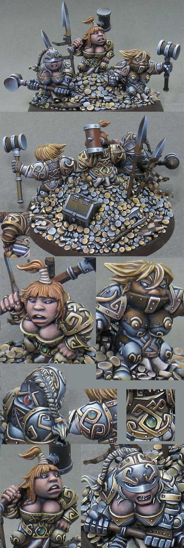 Coins, Dwarves, Female, Girls, Hammer, Non-Metallic Metal, Rackham, Shiny, Treasures, Trophies, Warhammer Fantasy