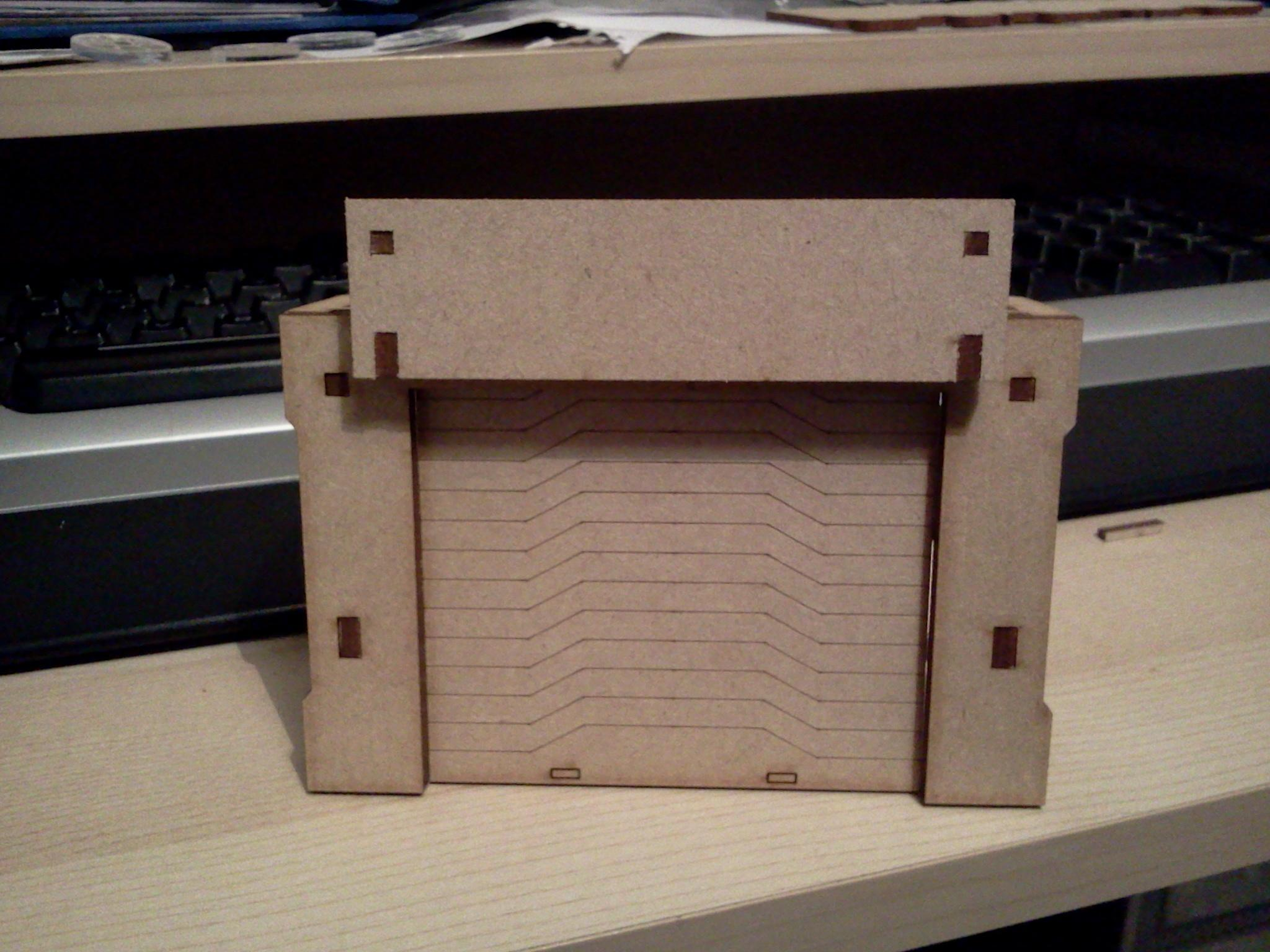 The MDF part of the security checkpoint prototype. The top panel will be an engraved sign, there'll be an option to customise the sign with your own propoganda, logos, labels etc