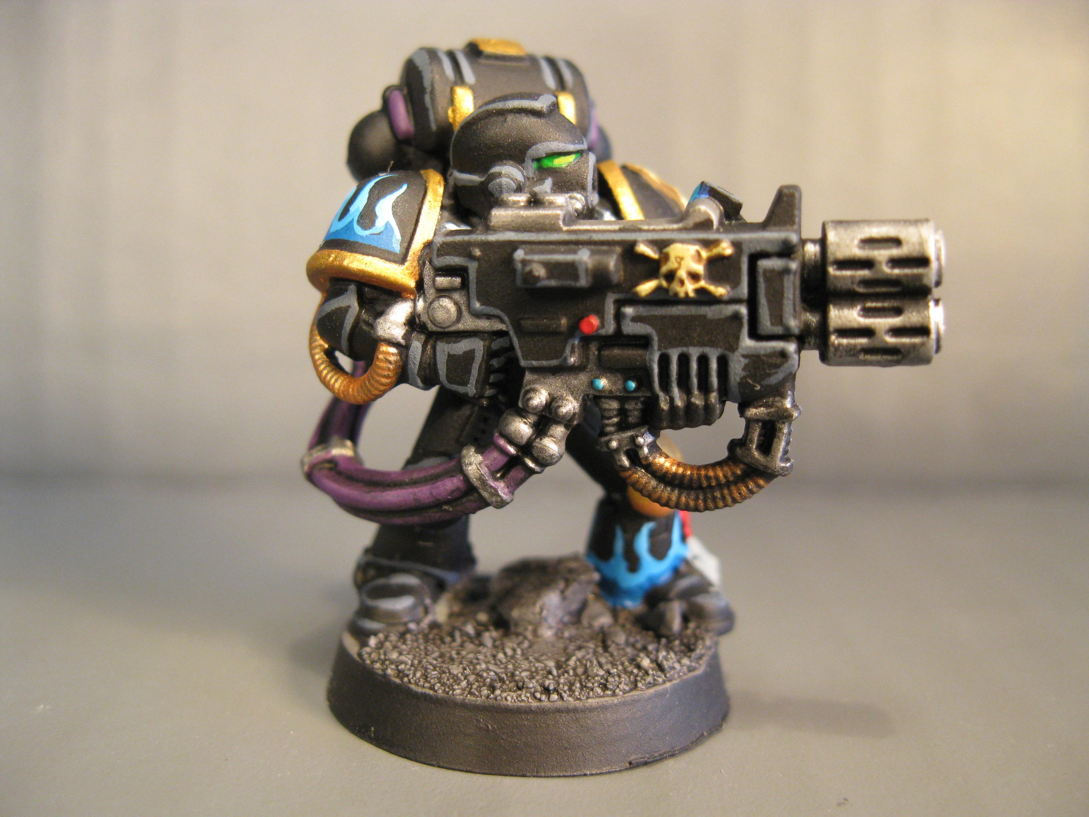 Black, Devistator, Flames, Multi Melta, Pro Painted, Space Marines, Warhammer 40,000