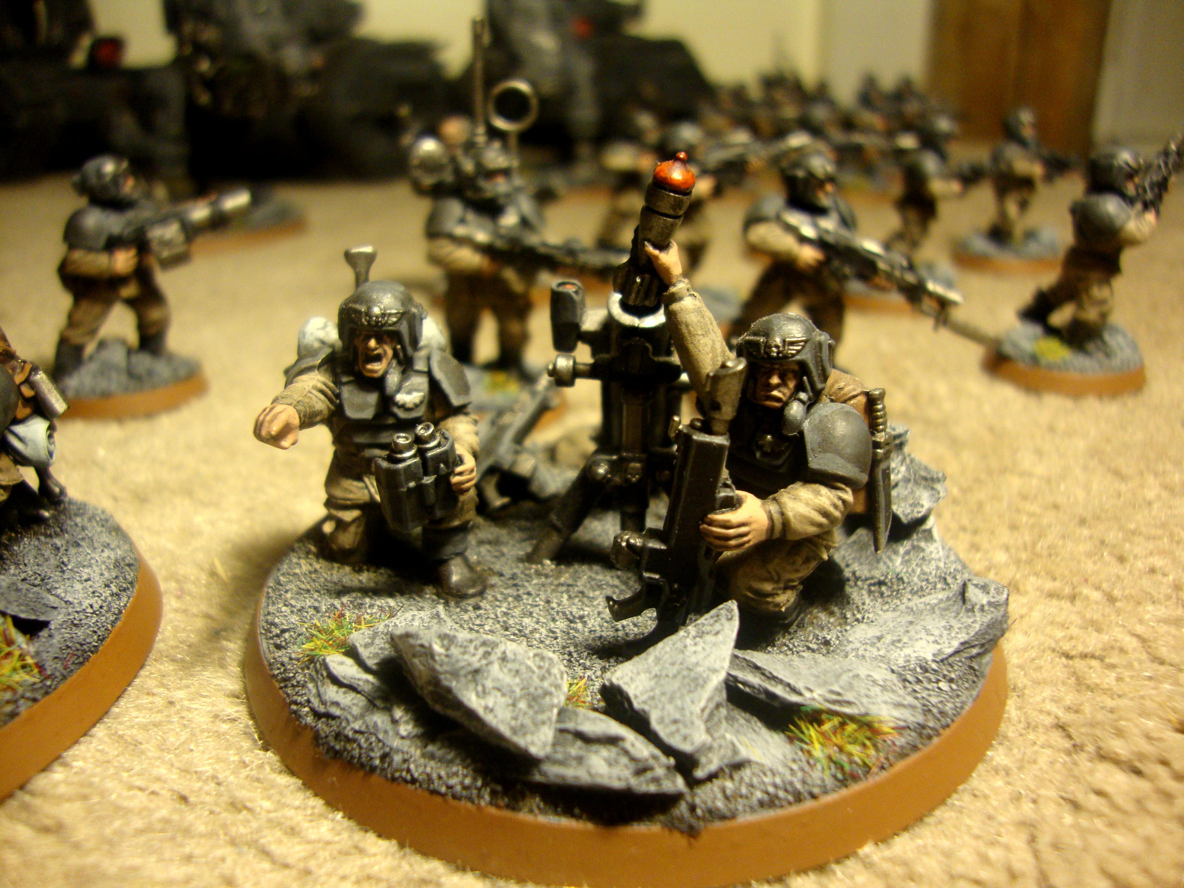 Astra Militarum, Autocannon, Basilisk, Chimera, Commander, Company Command Squad, Griffon, Guardsmen, Heavy Weapon Team, Heavy Weapons Team, Hive City, Imperial Guard, Imperial Guard., Lasguns, Leman Russ, Marbo, Missile Launcher, Mortar, Officer, Platoon, Seargant, Sentinel, Tank, Valkyrie, Veteran, Warhammer 40,000