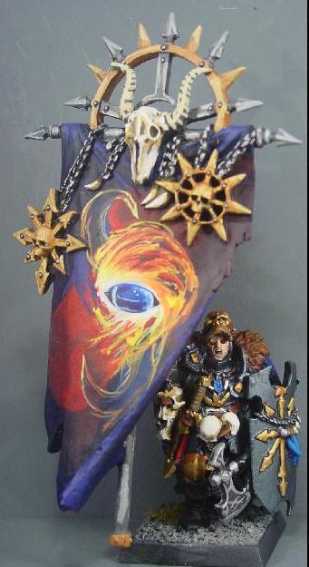 Banner, Chaos, Chaos Wariors, Pro Painted, Rpg, Standard Bearer, Warhammer Fantasy, Warriors Of Chaos, Wfb, Woc