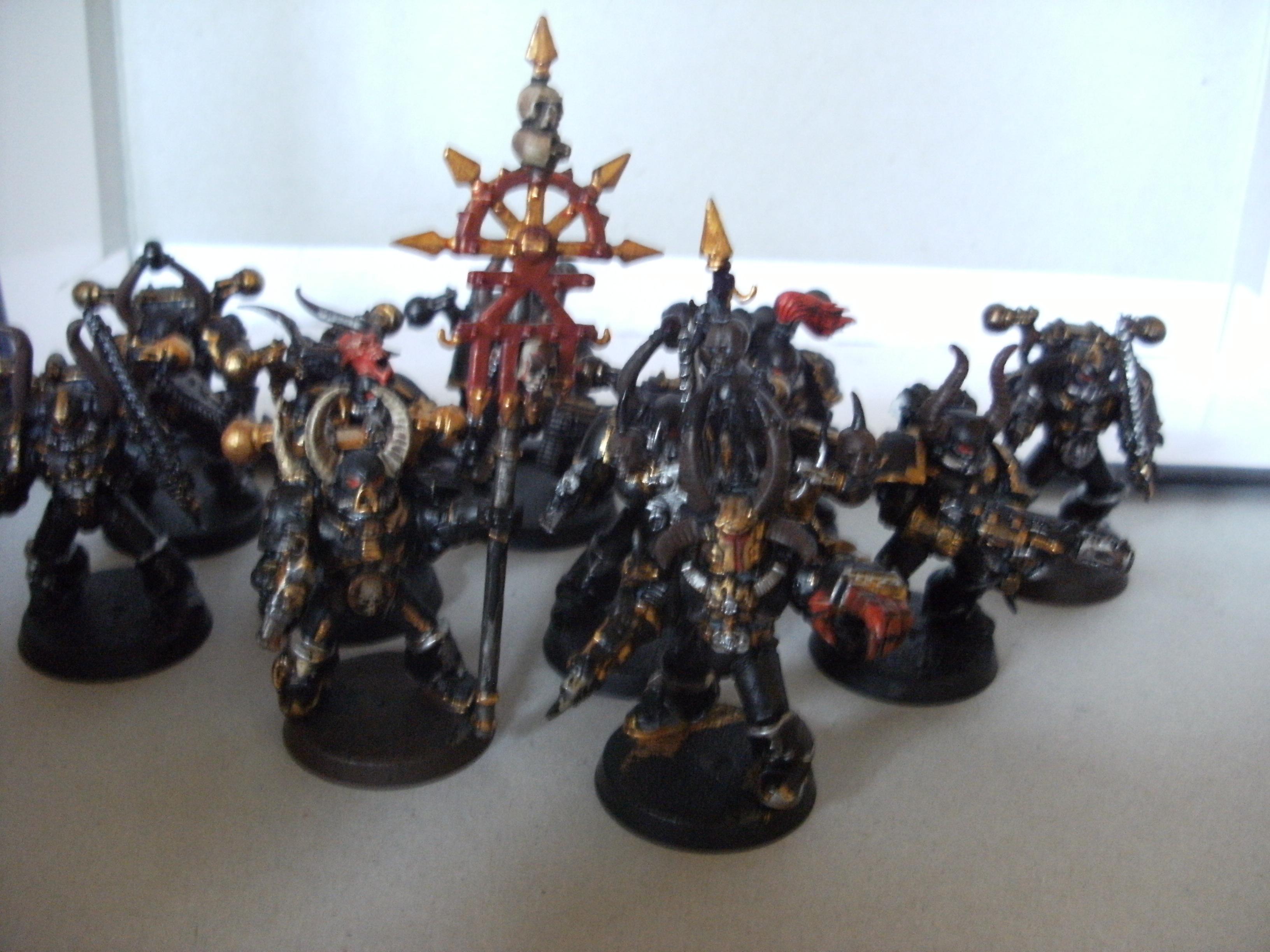 Army, Chaos Marine Chain Sword Gun Bolt, Chaos Space Marines, Group