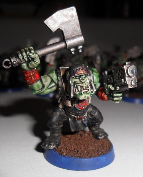 Orks, here you can see where I have painted over the blue details I think it will still look ok on the table top