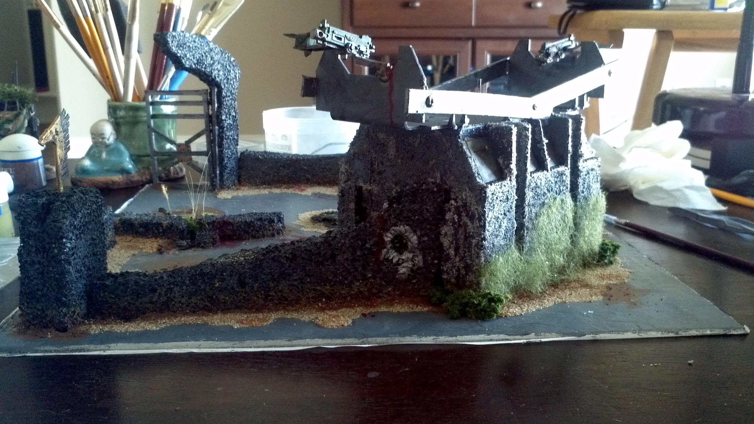 Blood, Buildings, Chaos, Cities Of Death, Cover, Dead, Death, Defense, Defensive, Delapadadted, Guardsmen, Heavy Weapon, Imperial, Imperial Guard, Over Run, Overrun, Placement, Ruin, Ruins, Terrain, Terrain Peice, Terrain Piece, Work In Progress, Zombie, Zombie Attack