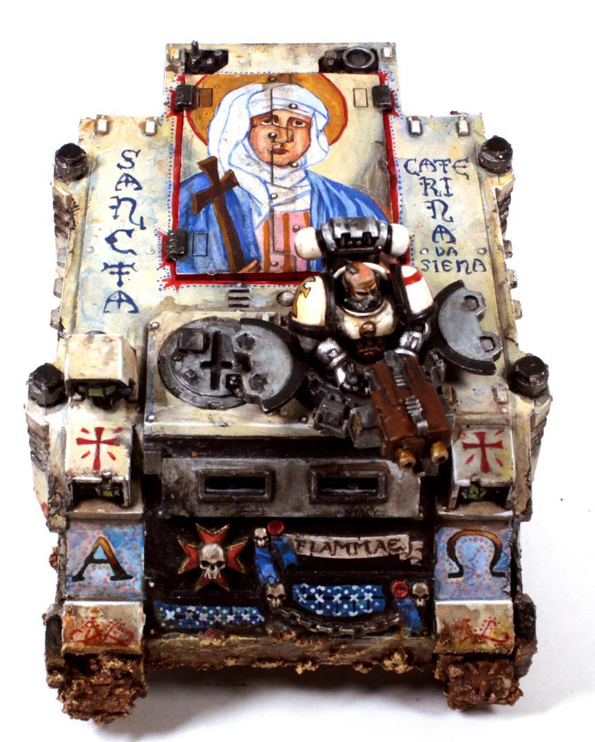 Black Templars, Byzantine, Conversion, Custom Chapter, Fire, Flames, Freehand, Jesus, Kitbash, Knights, Mural, Religion, Rhino, Scroll, Space Marines, Tank Commander, Templar