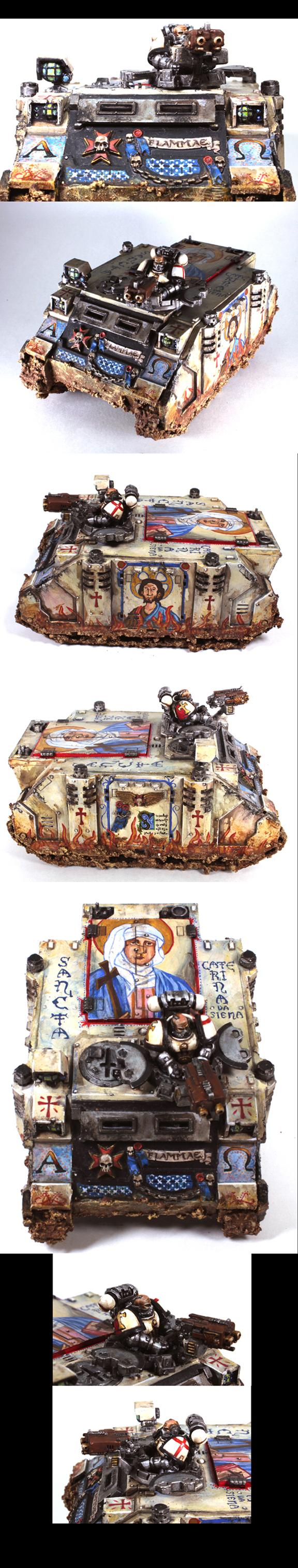 Black Templars, Byzantine, Conversion Rhino Chassis, Freehand, Rhino, Vehicle, Weathered