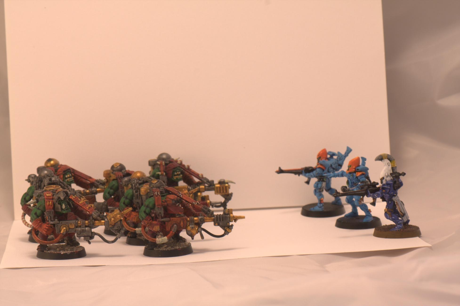 Burna Boyz, Burnas, Dire Avengers, Eldar, Guardians, Orks
