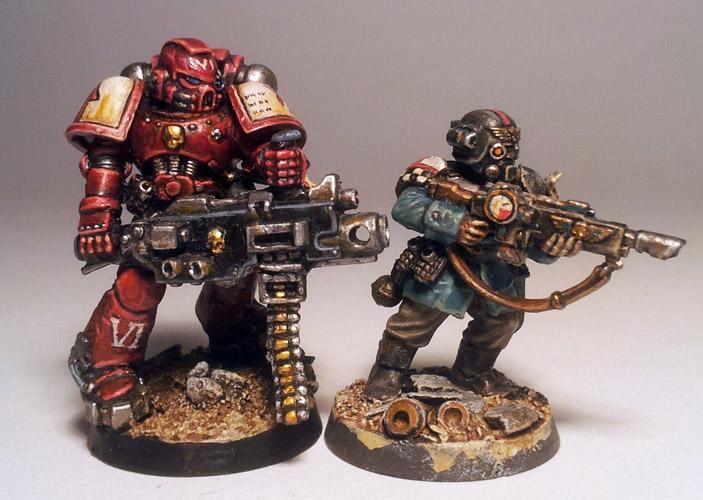 Crimson Templars, Imperial Guard, Space Marines, True Scale