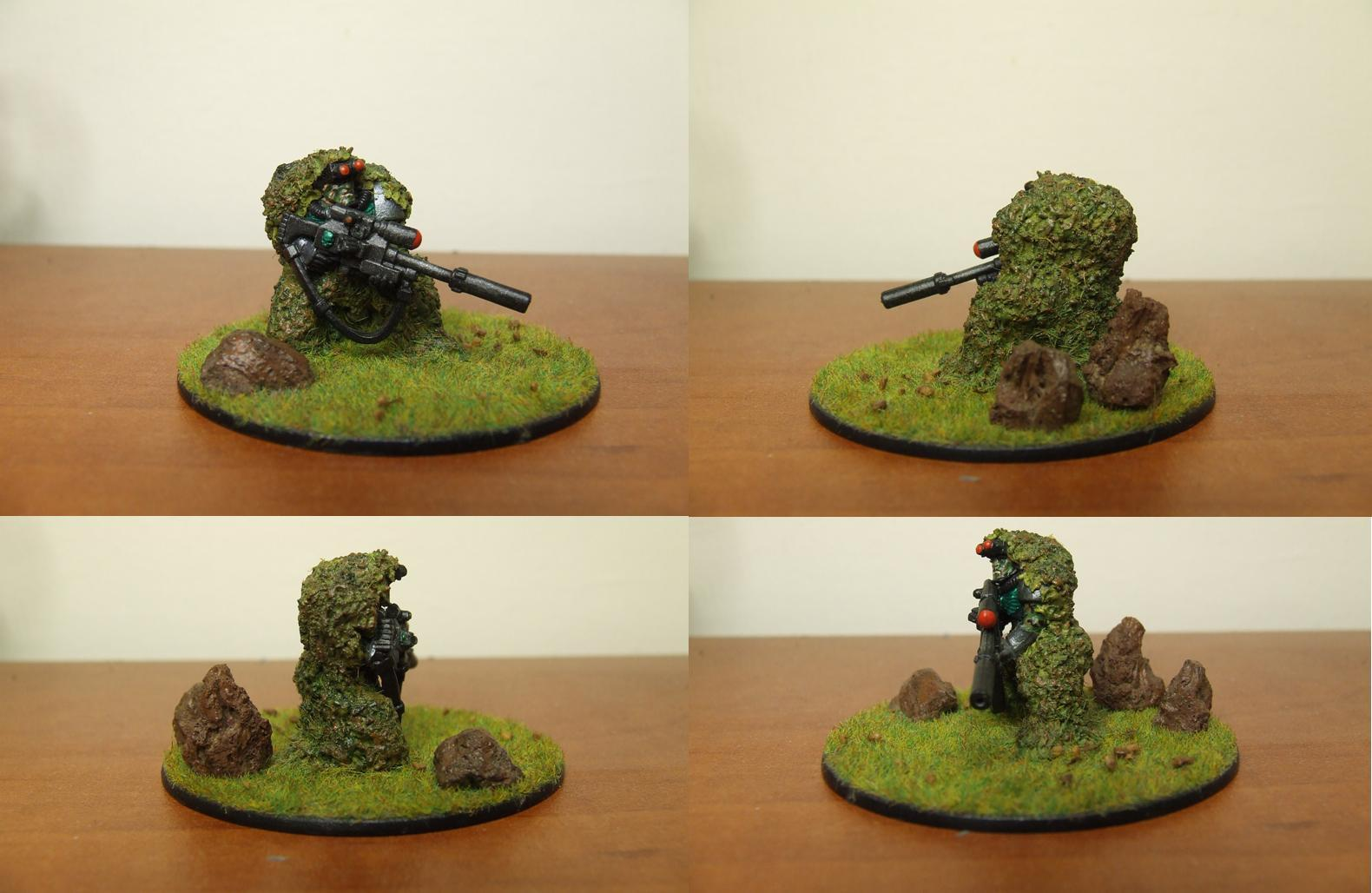 Grass Base, Scouts, Sniper Rifle, Snipers, Snipers. Space Marine