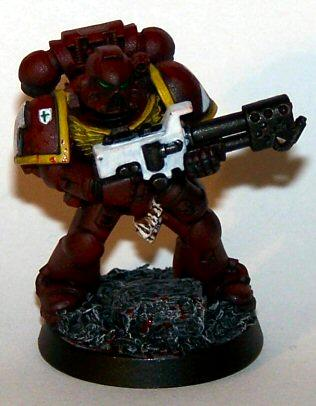 Blood, Blood Splatters, Flamer, Honour Badge, Rubble Base, Space Marine. Emperor's Wings, Tactical Squad