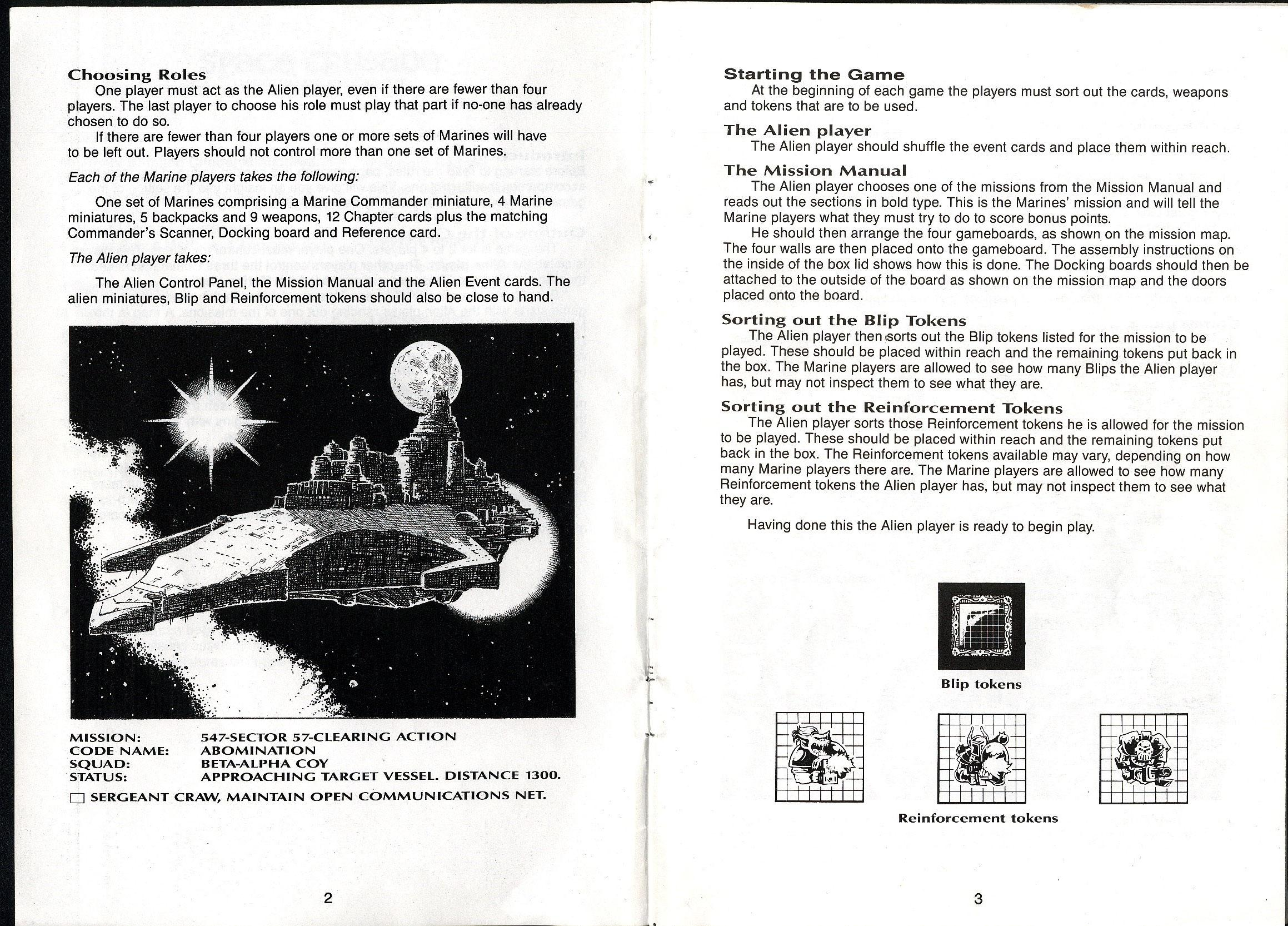 Space Crusade, space crusade rulebook page 1 and 2