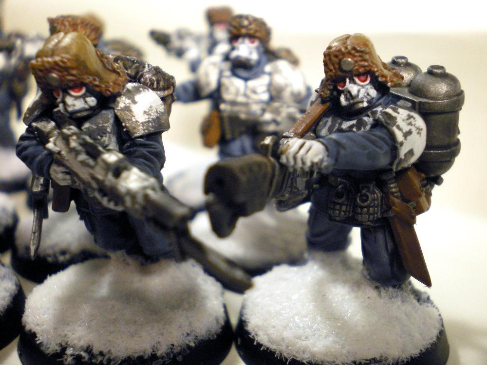 Imperial Guard, Pig Iron Heads, Snow Bases, Warhammer 40,000