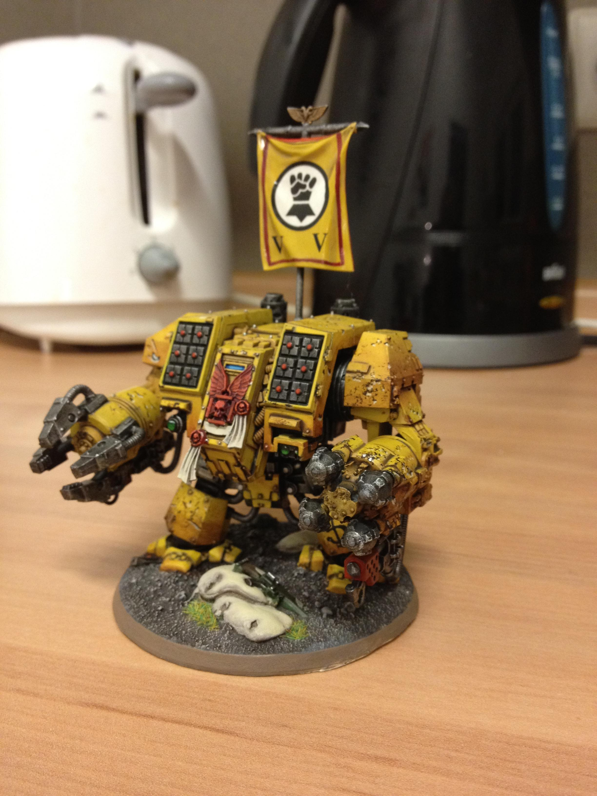 Dreadnought, Imperial Fists, Space Marines, Warhammer 40,000, Weathered