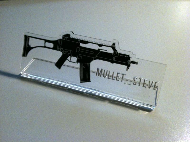 Gun, Laser Engraved Acrylic, Name Plate