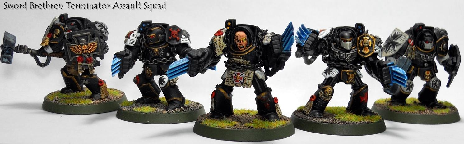 Assault, Black Templars, Painted, Space Marines, Sword Brethen, Terminator Armor, Warhammer 40,000