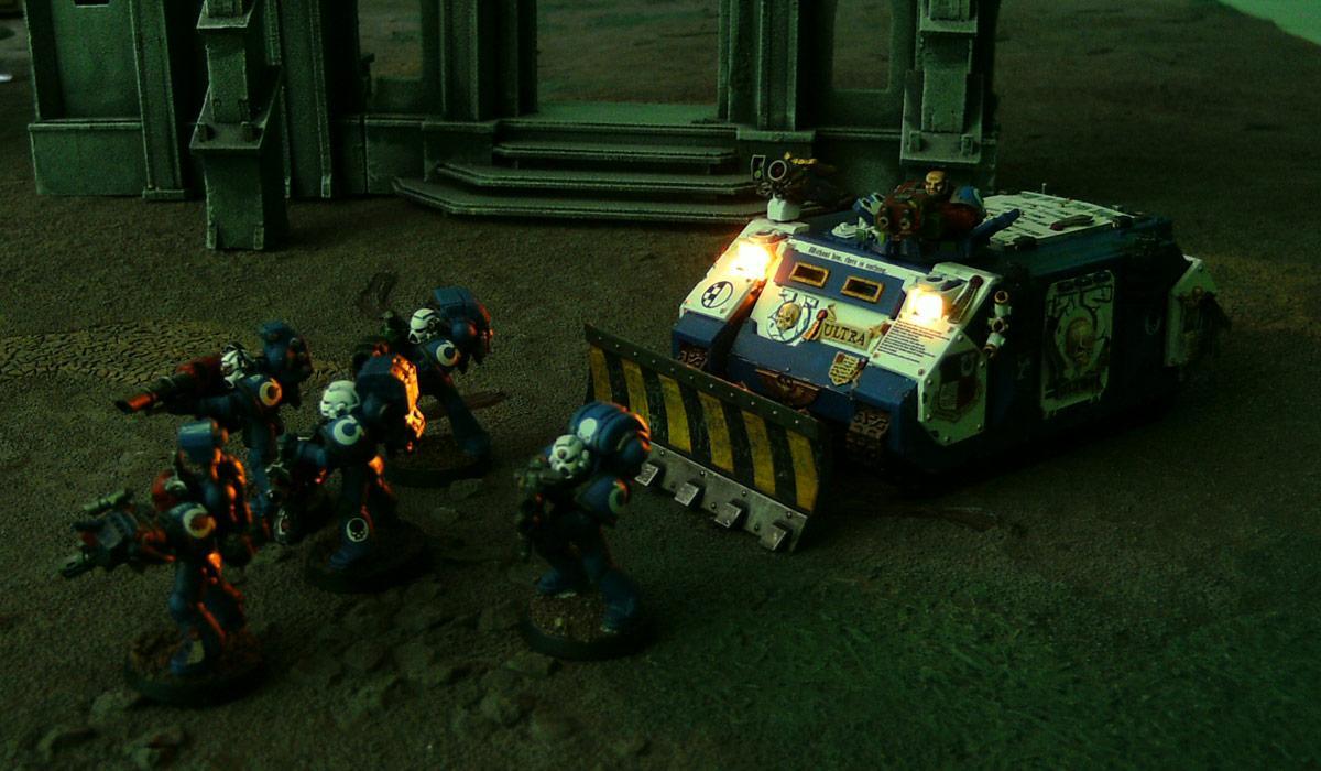 LED, Rhino, Space Marines, Ultramarines, Warhammer 40,000