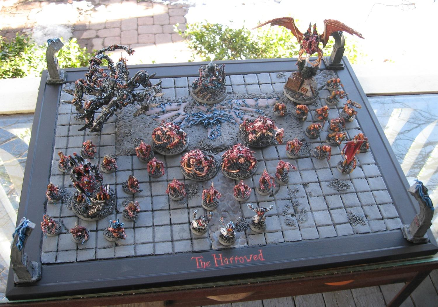 Army, Chaos, Daemons, Display Board, Harrowed, Lesser Daemons, Painted, Soul Grinder, Terrain, Warhammer 40,000