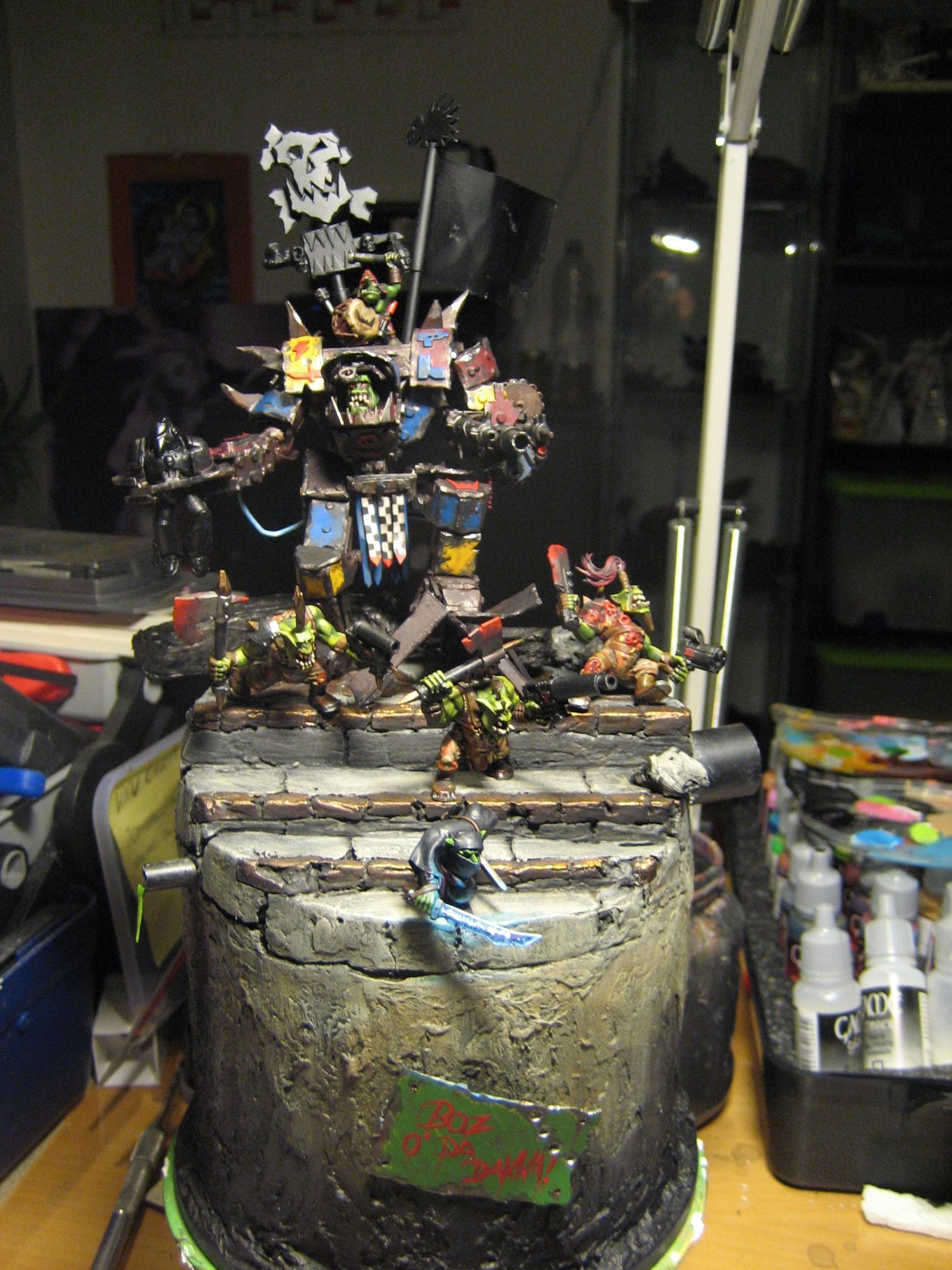 Conversion, Deff Dred, Diorama, Orks, Warboss, Warhammer 40,000