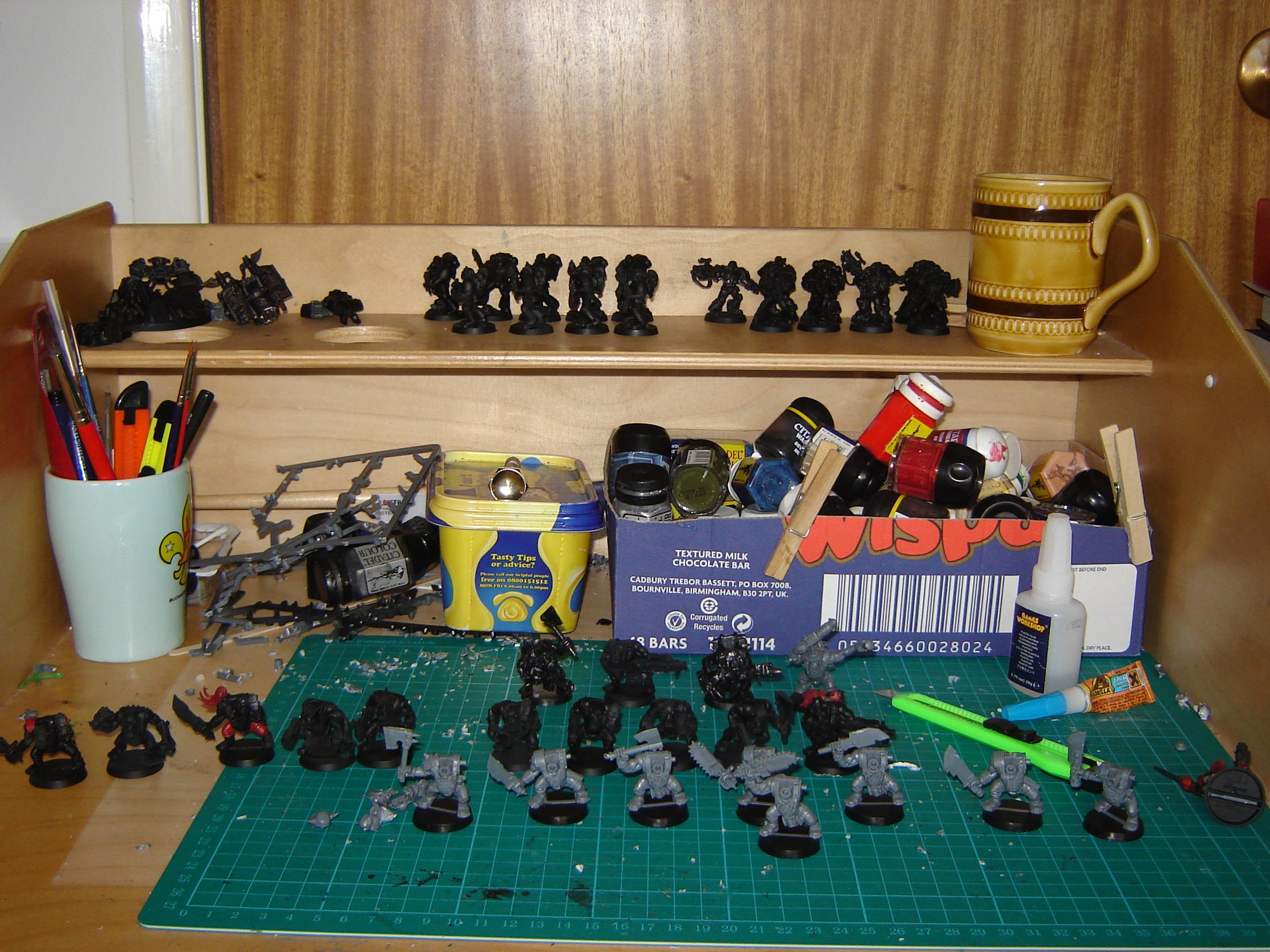 Desk Cleared of all but unpainted models