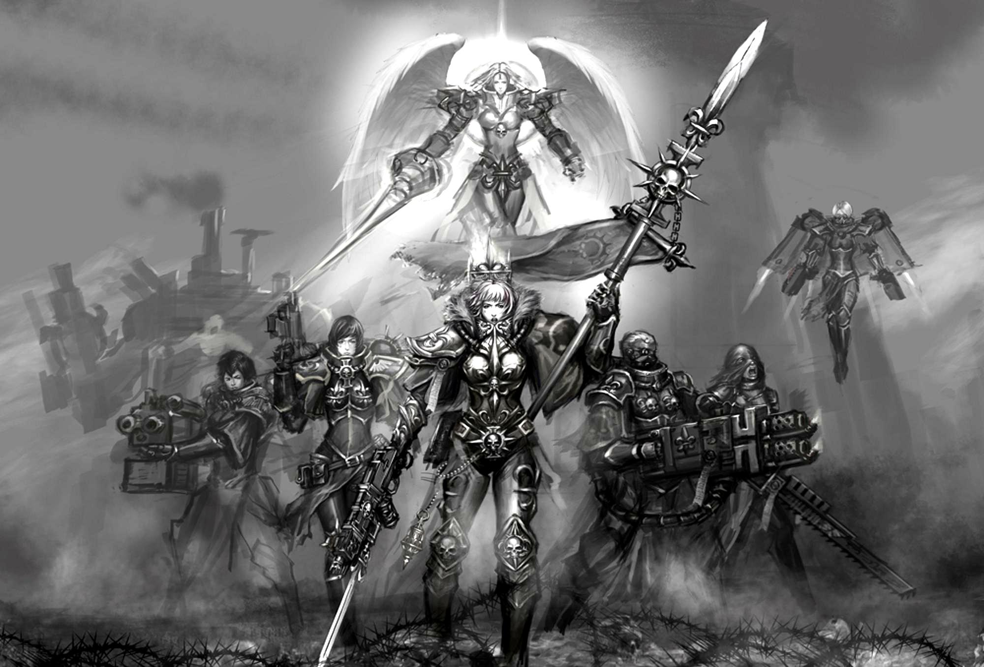 Adeptus Sororitas, Artwork, Black And White, Female, Sisters Of Battle