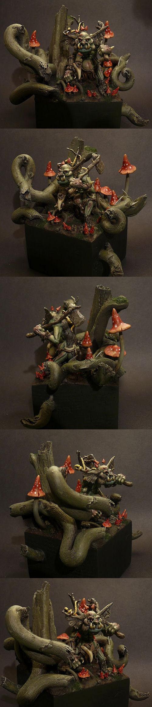 Diorama, Mushrooms, Troll, Warhammer Fantasy