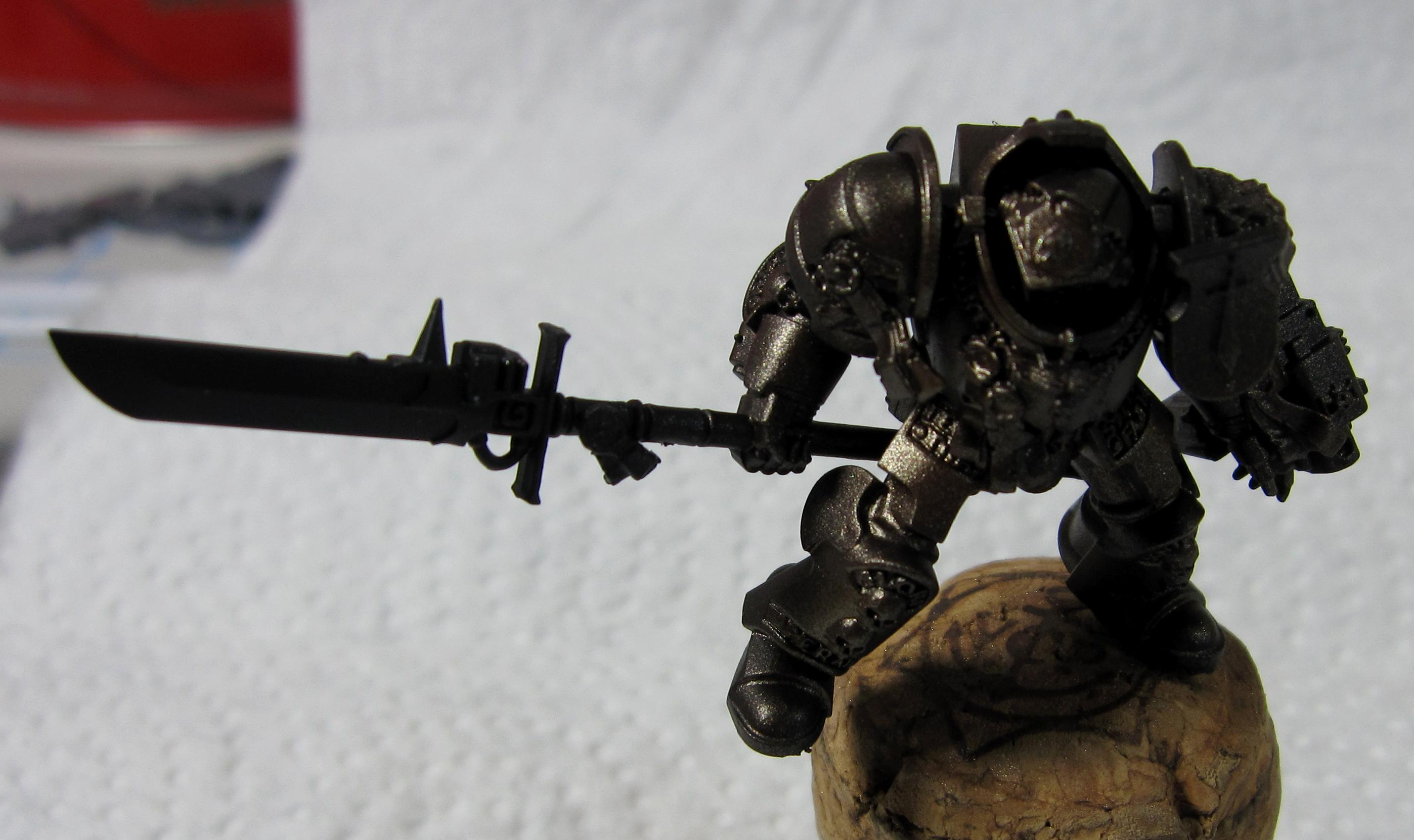 2. Grey Knight, Rust/tin airbrush layer one, zenithal