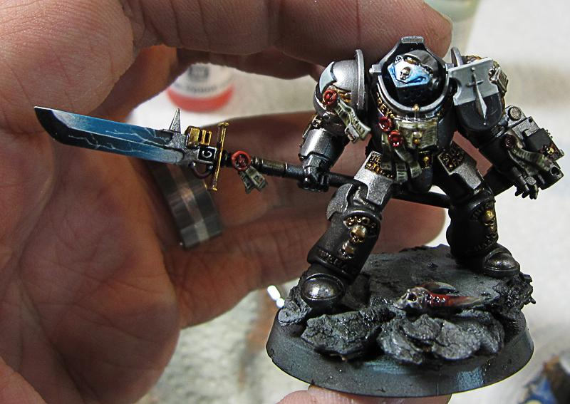 Grey Knights, 12. Grey Knight, darker washes on the base
