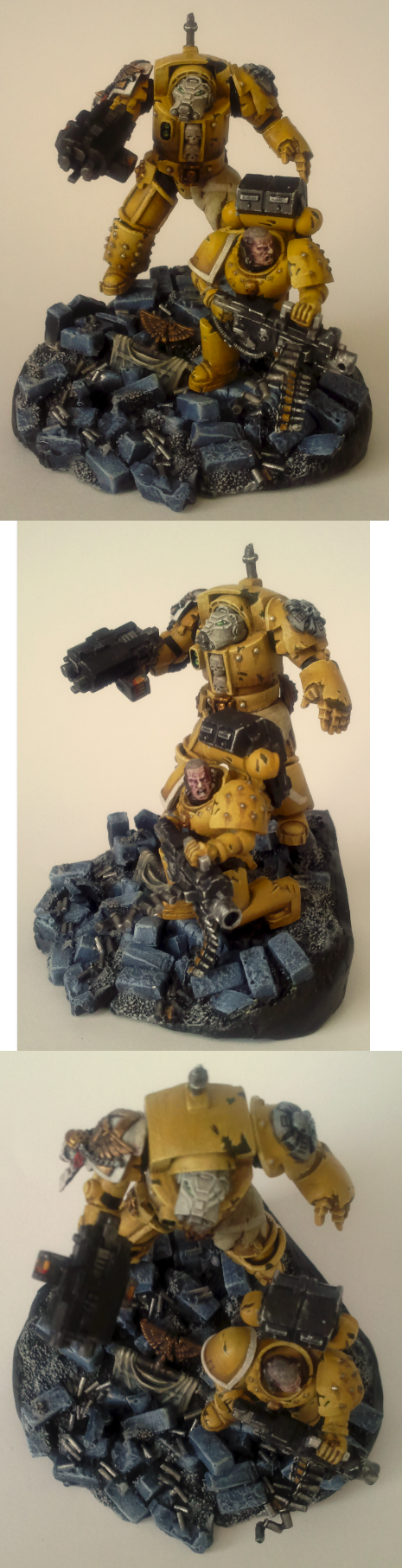 Brick, Conversion, Crux, Diorama, Heavy Bolter, Imperial Fists, Space Marines, Terminator Armor, Yellow