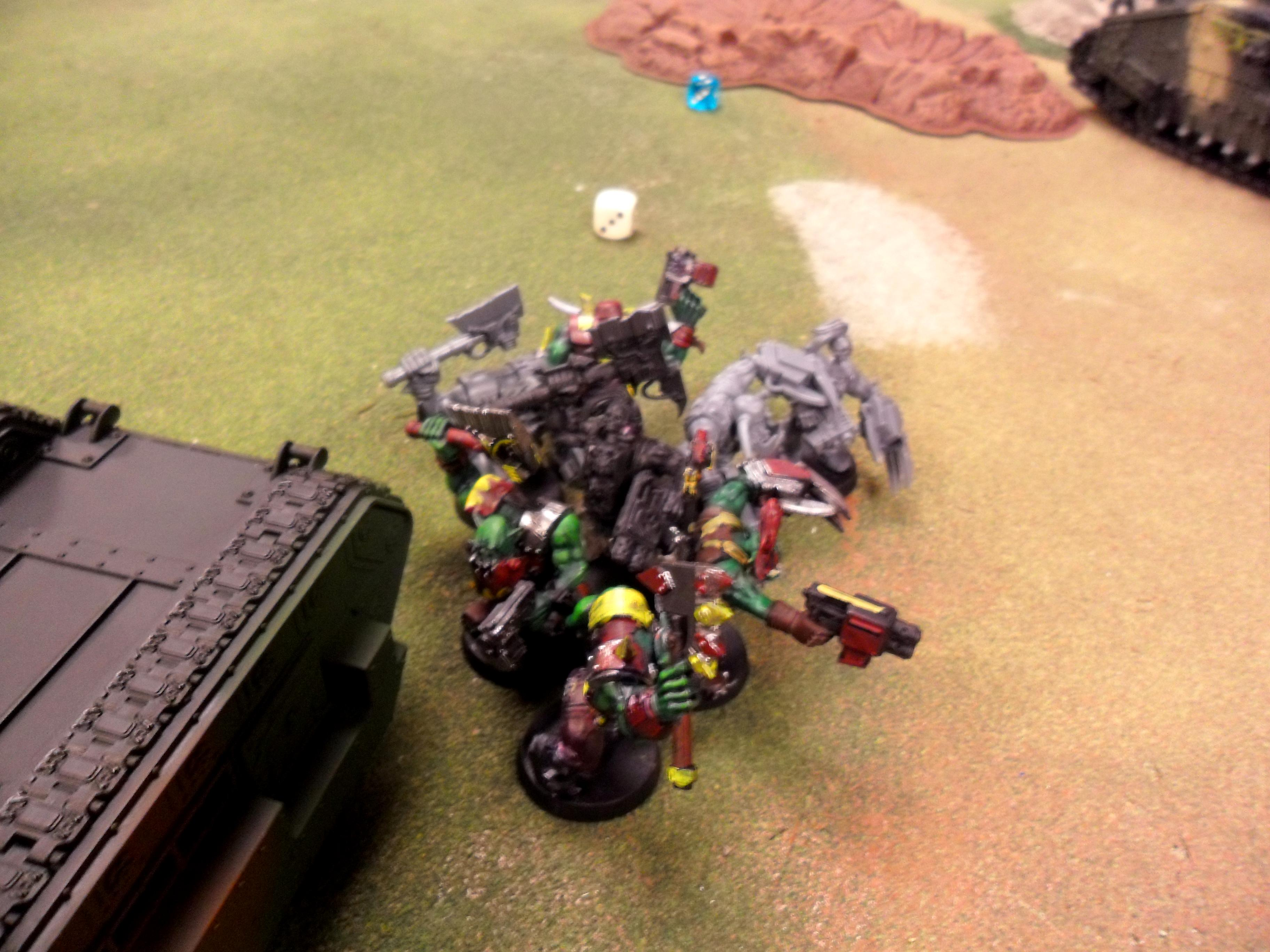 056 Ork assault 06 A bother though as these orks wanted to get stuck in to prevent a Baneblade from shooting them