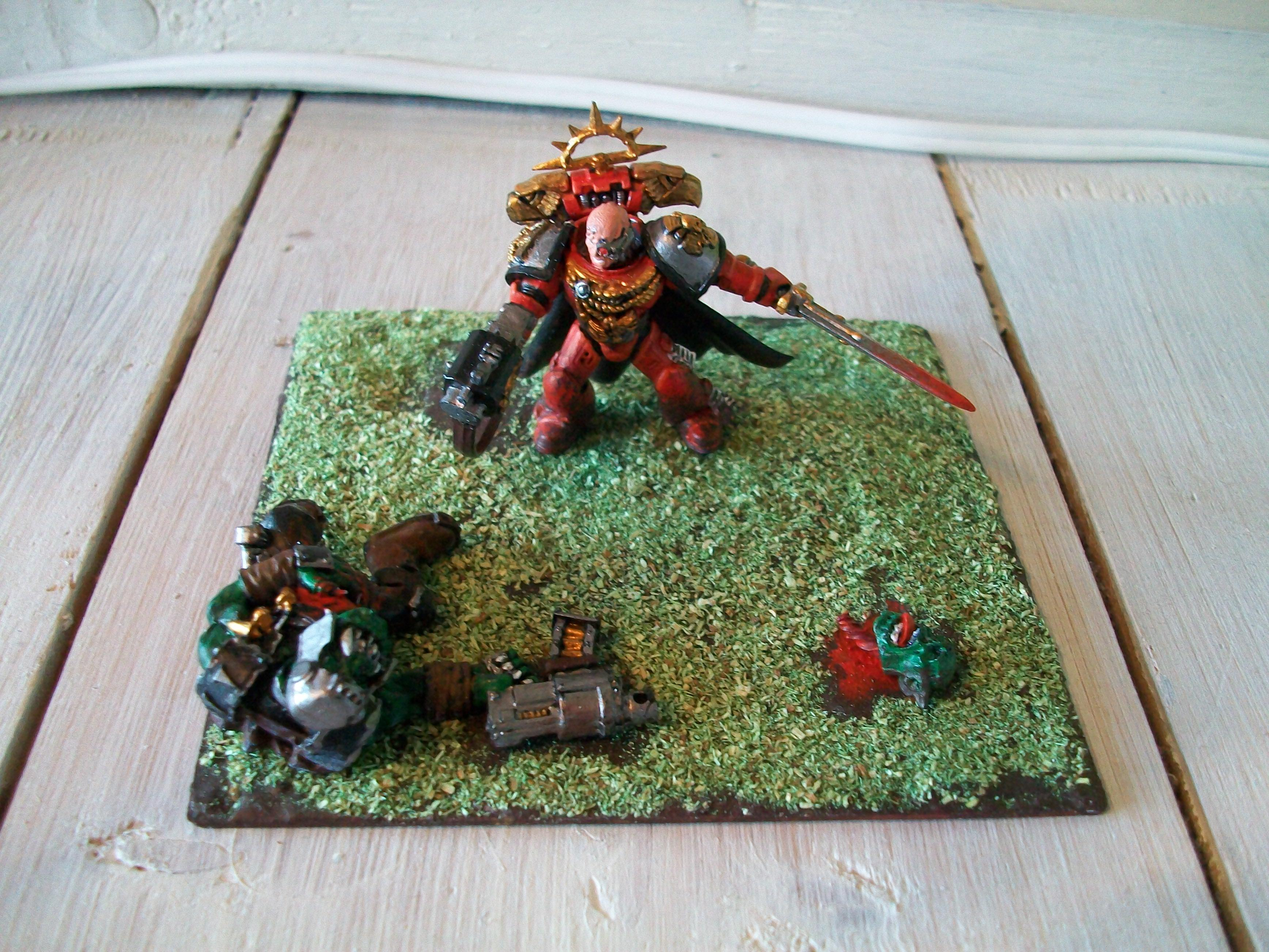 Blood, Commander, Diorama, Dying, Orks, Space, Space Marines, Warhammer 40,000