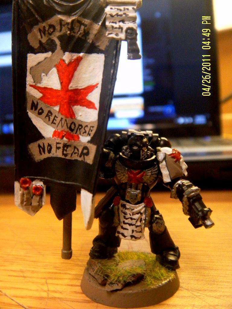 Black Templars, Cross, Flag, Honor Bearer, Space Marines, Standard, Templar Cross