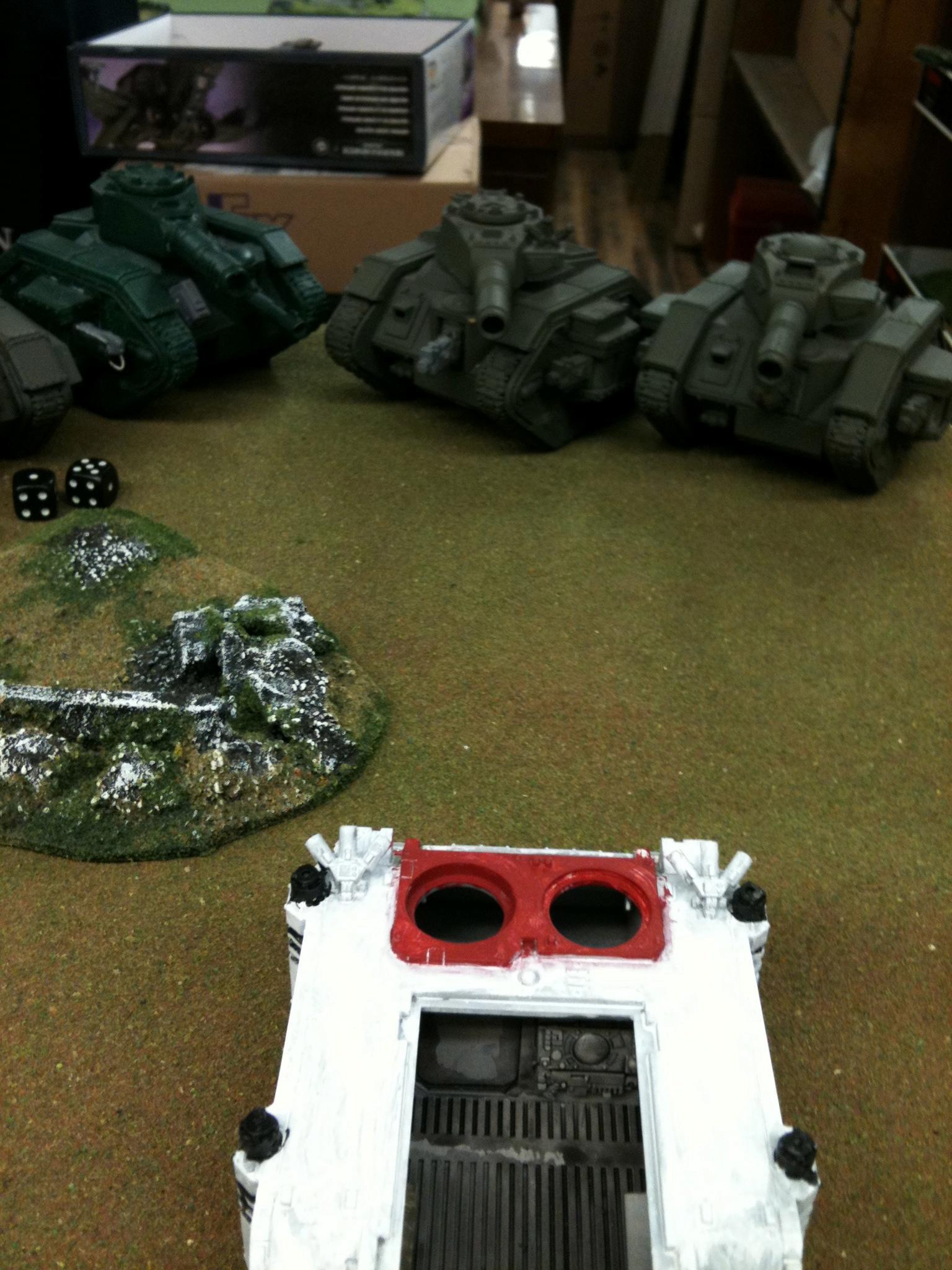 Evildice, Game In Progress, Hobby Bunker, Leman Russ, Rhino, Warhammer 40,000, Work In Progress