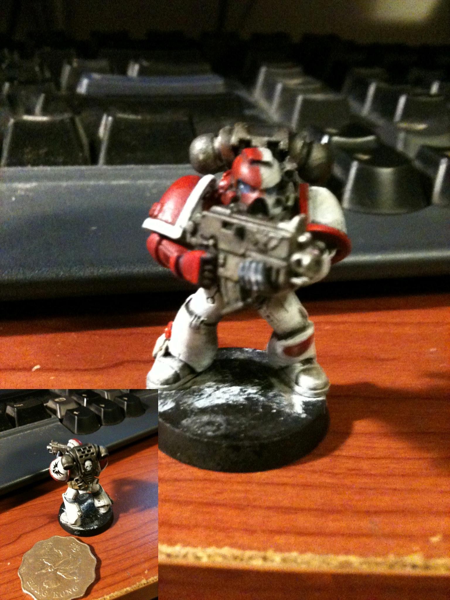 Blood Angels, Boltgun, Do-it-yourself, Infantry, Power Armor, Red, Space Marines, Warhammer 40,000, White, Work In Progress