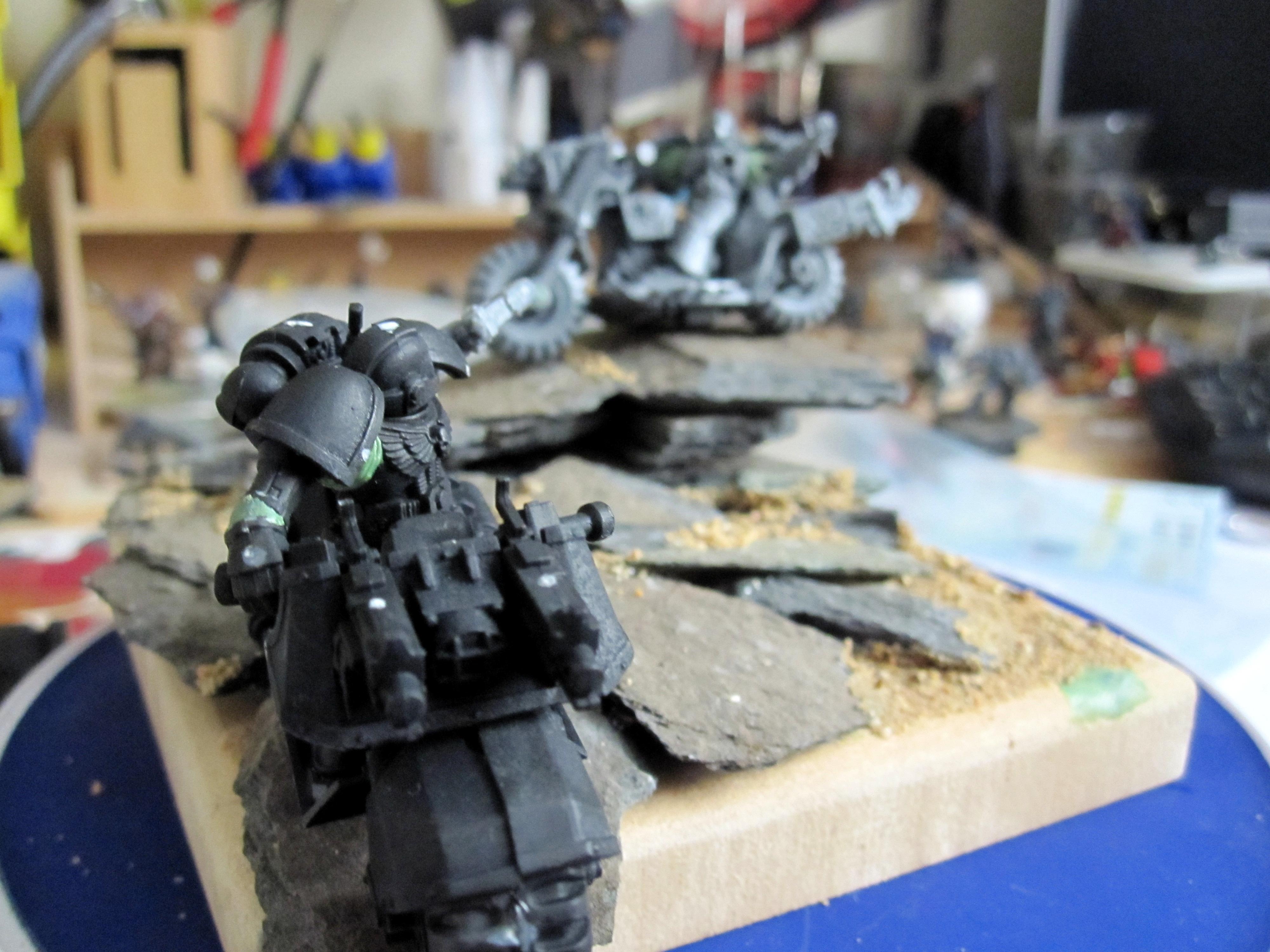 Chaos, Mini Diorama Space Marine, Warhammer 40,000, Wood, Work In Progress