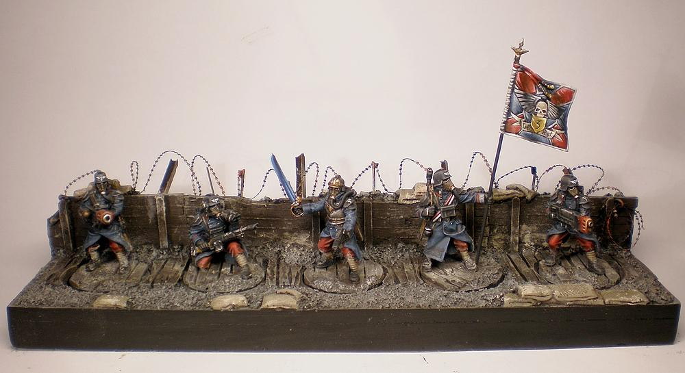 40.000, Base, Command Squad, Commission, Conversion, Death Korps of Krieg, Diorama, Forge World, Games Workshop, Imperial Guard, Resin, Scenic, Secret Weapon, Sigur, Standard Bearer, Warhammer 40,000