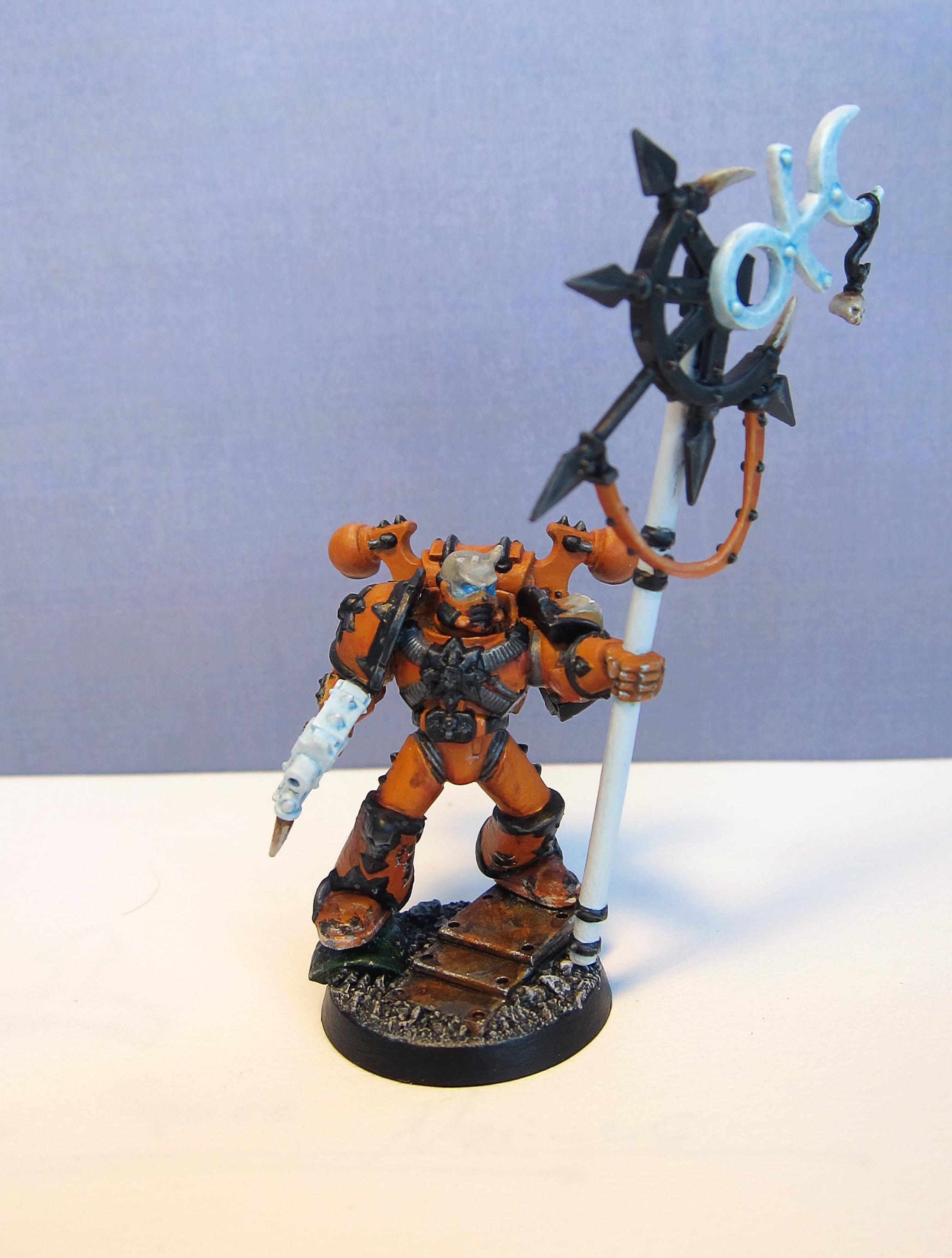 Chaos, Chaos Space Marines, Icon Bearer, Orange