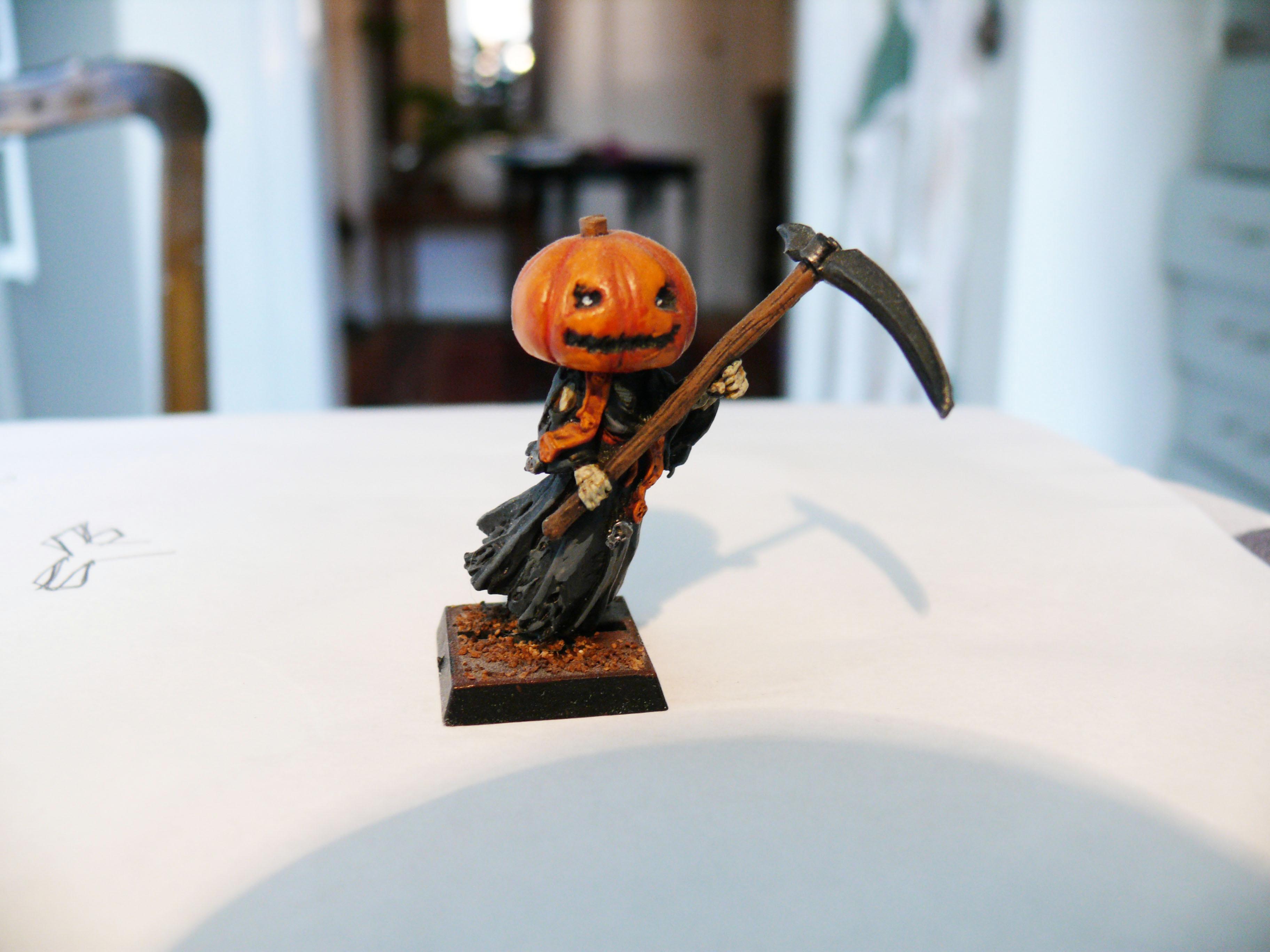 Halloween, Pumpkin, Scythe, Wraith